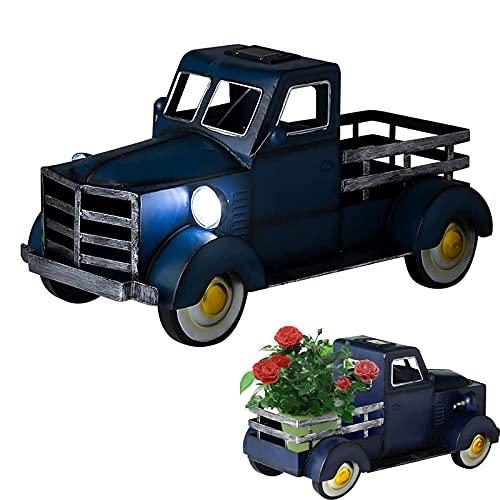Maceta para camioneta Pickup Solar con luz para Coche, decoración de jardín de camioneta Pickup Solar de Estilo Retro, para Almacenamiento de macetas Decorativas de Escritorio (Azul)