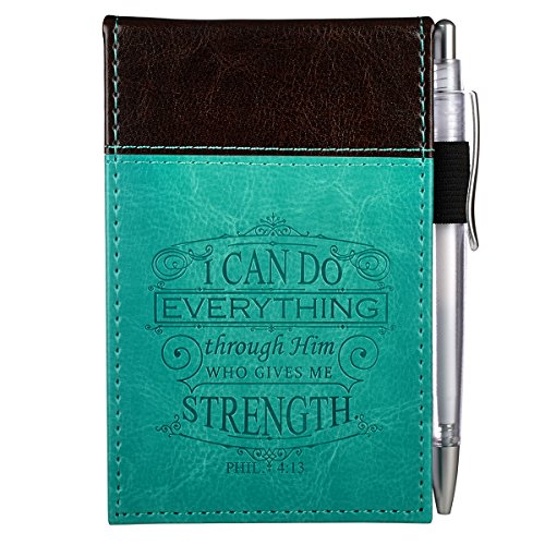 """""""I Can Do Everything Through Him"""" Turquoise & Brown Pocket Notepad w/Pen"""