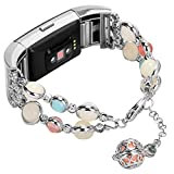 Imymax for Fitbit Charge 2 Bands Bracelet Adjustable Wristband Handmade Night Luminous Pearl Charge 2 Bracelet with Essential Oil/Perfume Storage Pendant for Women/Girls (Silver)