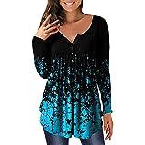 Pabuyafa Blusas de manga larga con cuello en V y estampado floral para mujer, blusa suelta con botones, Lago Azul, L