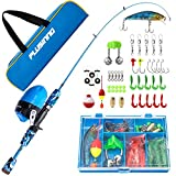PLUSINNO Kids Fishing Pole with Spincast Reel Telescopic Fishing Rod Combo Full Kits for Boys,...