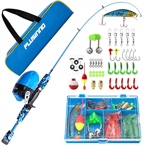 PLUSINNO Kids Fishing Pole with Spincast Reel Telescopic Fishing Rod Combo Full Kits for Boys, Girls, and Adults(Blue, 150CM 59.02In)