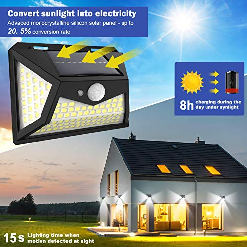 Upgraded Solar Lights Outdoor 118 Led Solar Motion Sensor Security Lights ,Wireless Waterproof with 120° Motion Angle Outdoor Lights,Easy-to-Install for Front Door,Yard,Garage (4-Pack/3 Modes)