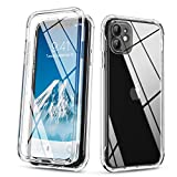 SURITCH Clear Case for iPhone 11, [Built in Tempered Glass Screen Protector] Anti-Scratch Shockproof Full Body Protection Hard Plastic Back & Hybrid Soft Bumper Case for iPhone 11 6.1'(Crystal Clear)
