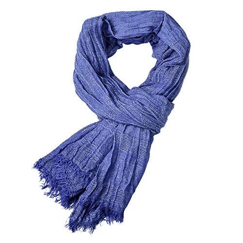 Fenverk Winter MäNner Klassisch Schal Franse Drucken Blumen Quaste Lange Weich Warm Neu Herren Prime Einfach Farbe Mischen Hals Schals(Blau)
