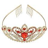 Pixnor Crystal Strass Gold rotes Haar Diadem Krone mit Kamm Hochzeit Braut Haarreif Party Frauen