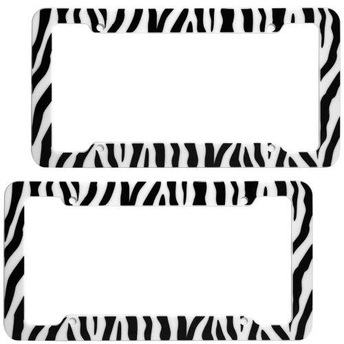 OxGord 2pc Set Plastic License Plate Frames with ZebraTiger Stripes, White Black