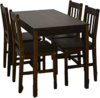 Wakects - Conjunto de mesa de comedor con 4 sillas para cocina con sillas de madera duradera, mesa de comedor con 4 sillas estables para casa, color marrón