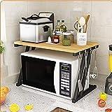 KQP Forno A Microonde Rack2 Tier Kitchen Baker Rack Microwave Oven Stand Storage Cart Workstation Shelf Desktop OrganizerPortaoggetti Multifunzionale Da Cucina (Size:57x38x38cm; Color:#6)