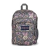 JanSport Big Student Backpack - School, Travel, or Work Bookbag with 15-Inch Laptop Compartment, Boho Floral Graphite Grey