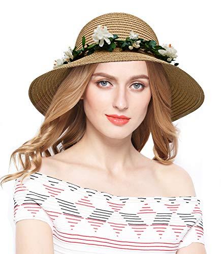 Lovful Fashion Flower Lace Ribbon Wide Brim Caps Summer Beach Sun Protective Hat Fedora Straw Hats for Women, Khaki
