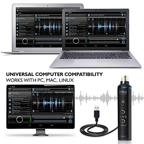 Pyle Microphone XLR-to-USB Signal Adapter - Universal Plug and Play XLR Mic to PC Adaptor for Digital Recording w/ Mix Audio Control, +48V Phantom Power, Headphone Volume, USB Cable - PDUSBPP10