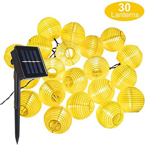 Farolillos Solares Exterior de Luces de Cuerda, ALED LIGHT 6m 30 LED Blanco Cálido Impermeable Guirnalda Luces Exterior LED Linternas Farolillos Decorativos Solares para Decoración Jardines