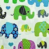 Stoffschreinerei Baumwollstoff (Herzelefanten grün blau)