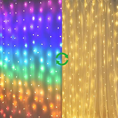 Fairy Lights Led Curtain Lights Color Globe String Lights for Bedroom Wall Boho Dorm Rainbow Unicorn Room Decor for Teen Girls Kids Wedding Birthday Christmas Party Decorations Icicle Twinkle