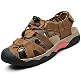 DimaiGlobal Sandalias Deportivas para Hombre Al Aire Libre Cuero Verano Playa Senderismo Zapatos Antideslizante Trekking Casual Sandalias 44EU marrón