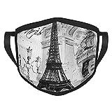 Reebos Collage de la Torre Eiffel de París en blanco y negro de tela cara Ma-sk transpirable y ajustable para hombres y mujeres al aire libre ciclismo camping viajes