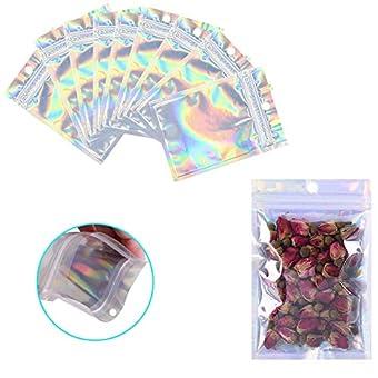 再密封可能なマイラーバッグ 100枚パック 匂い防止ポーチ アルミホイルパッケージ プラスチックジップロックバッグ 小型マイラーストレージバッグ キャンディ/ジュエリー/ネジ/ホログラフィックレインボーカラー 4 x 7 inch