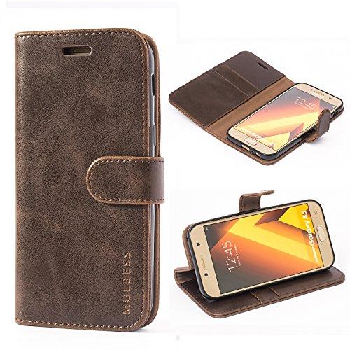 Mulbess Handyhülle für Samsung Galaxy A5 2017 Hülle, Leder Flip Hülle Schutzhülle für Samsung Galaxy A5 2017 Tasche, Vintage Braun