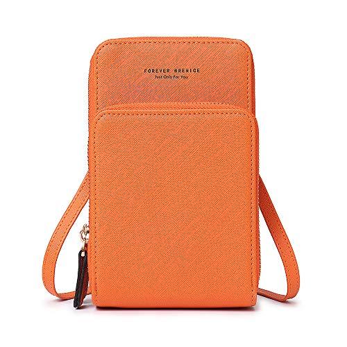 Brenice Damen Crossbody Tasche, Frauen Feste PU Leder Karten Beutel Telefon Kartentasche Handytasche Umhängetasche Orange