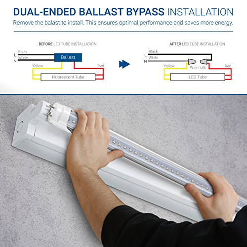 Hyperikon 4 Foot LED Tube, T8 T10 T12 40 Watt Replacement (18W), Dual End Ballast Compatible, Clear Lens, UL, DLC, Crystal White, 24 Pack