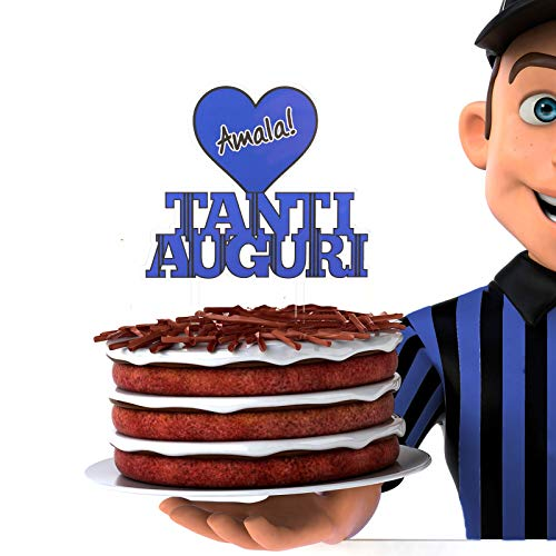 Decoración para tarta del Inter de cumpleaños   Decoración para tarta de cumpleaños   Color negro y azul   Ideal para tartas y dulces   Ideal para decoración de fiestas de cumpleaños y eventos