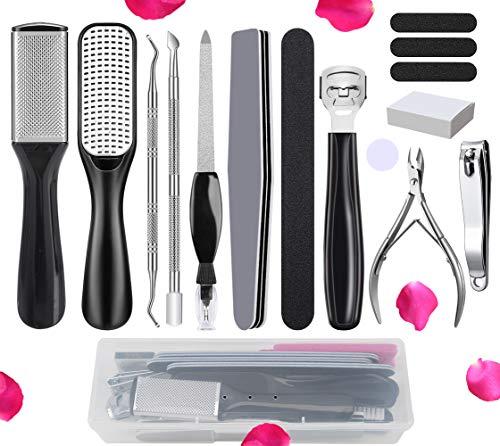 Professional Pedicure Kit 15 Pcs,Vnina Pedicure Tools Set,Nail Tools Supplies Set, Foot Scrub Deadsk…
