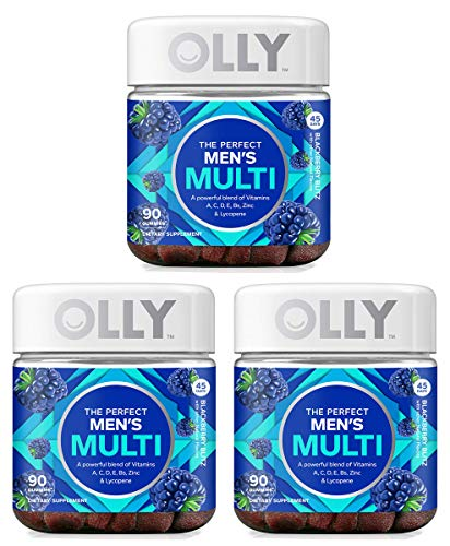 Olly DBKN Perfect Men's Multivitamin Gummy Supplement, with Lycopene & Zinc; BlackBerry Blitz (45 Day Supply), 3 Pack of 90 Count