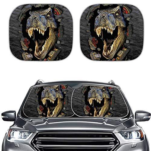 Amzbeauty Parasol de coche con diseño de dinosaurio, 2 unidades, universal, bloquea el deslumbramiento solar, UV y calor, protege el interior del coche