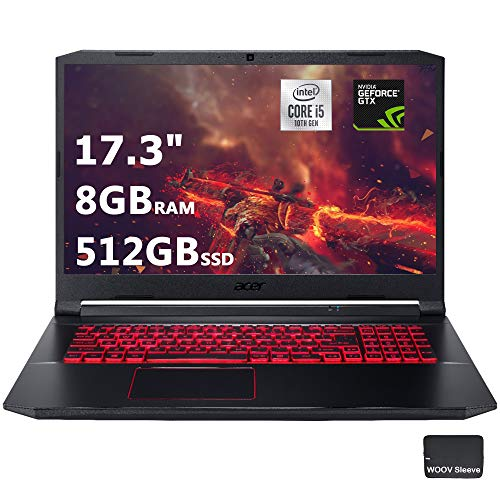 Acer Nitro 5 17.3' FHD Gaming Laptop Intel Core i5-10300H, NVIDIA GeForce GTX 1650 Ti,8GB DDR4 RAM, 512GB PCIE SSD, Backlit Keyboard, Woov Laptop Bag, Windows 10 Home Obsidian Black