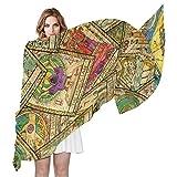 QMIN Sciarpa vintage con motivo di tarocchi, alla moda, leggera, scialle in Sheel, per donne e ragazze