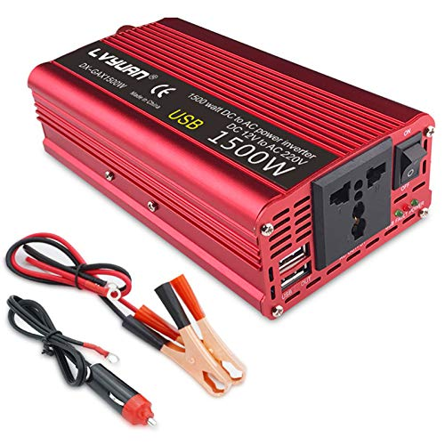 Inverter Di Potenza Per Auto 1500W 12V / 24 V a 110V / 220V Convertitore Di Potenza a Onda Sinusoidale Convertitore Per Auto Convertitore USB Per Laptop, Pad, Telefo