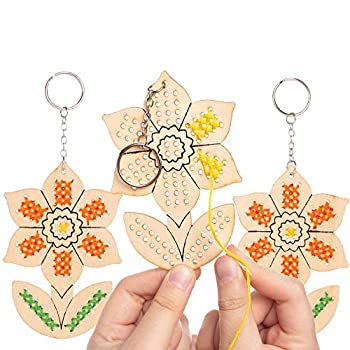 Baker Ross AT605 Daffodil Wooden Cross Stitch Keyring Kits - Pack of 5 Introduction to Sewing Wooden Templates with Bright Colored Wool for Craft Key Chains assorted