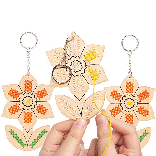 Baker Ross AT605 Daffodil Wooden Cross Stitch Keyring Kits - Pack of 5, Introduction to Sewing, Wooden Templates with Bright Colored Wool for Craft Key Chains, assorted