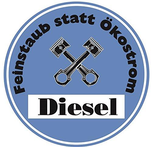 Feinstaub Statt Ökostrom Aufkleber Sticker Blaue Umwelt-Plakette Diesel JDM 2 Stück Fun Lustig Umweltzone Fahrverbot Autoaufkleber LKW