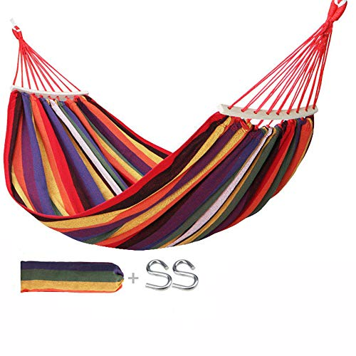JQXB Hammock Chair Swing Hanging Hammock Chair, Cotton for Patio, Porch, Bedroom, Backyard, Indoor or Outdoor, with Carrying Bag(Max Load 150kg),Red