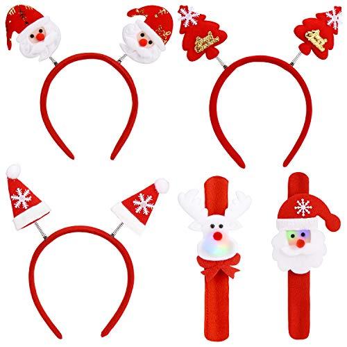KASSEN Bandeaux pour Noël et Bracelets à Claquer Pack de 5, Serre-têtes de Noël pour Enfants et Adultes, avec Motifs de Père Noël,de Chapeau de Noël et de Rennes.