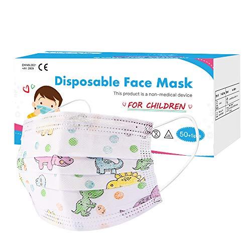 Maschera da 50 Pezzi per Bambini, Mascherine Usa e Getta per L'Igiene Del Viso in Polipropilene a 3 Strati, Protegge Dalla Polvere, Traspirante, Unisex, Maschere Usa e Getta
