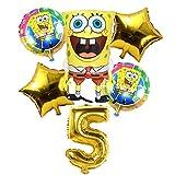 LIUUWO Balloon 6 Unids Globos de Bob Esponja de Cumpleaños 3D Set Suministros de Fiesta Globos Decoración de Bebé Decoración de Fiesta Infantil Globos de Bob Esponja Helio, 5