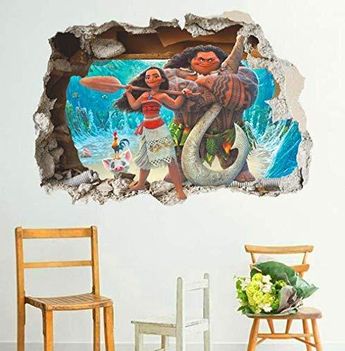Nonebranded wandtattoo Cartoon Moana Maui Vaiana Kinderzimmer Aufkleber Dreidimensionale Effekt Wandaufkleber Kinder PVC Kunst Aufkleber Kinderzimmer Dekoration 60 * 90cm