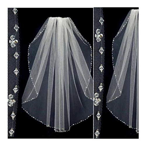 Bridal Wedding Veils Crystal Beaded Wedding Veils Tulle One Layer Bridal Veil Short Bridal Veil Wedding Accessories Bridal Party Veils with Comb Gorgeous Bridal Tulle (Color : White)