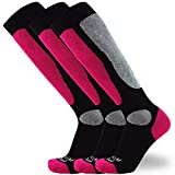 Value Ski Socks for Men and Women – Snowboarding, Winter, Cold Weather (S/M, 3 Pairs - Neon Pink)