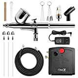 OMZ-3 pcs Nozzle Mini Airbrush Kit, Double-Action Auto Airbrush Portable Gun Kit, with 0.2/0.3/0.5mm Nozzle and Clean Set, Maximum Pressure 30psi, Suitable for Cake Decor, Model Coloring-Black