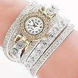 ZHU Armbanduhren 2 STÜCKE Kleines Zifferblatt Diamant-Wickelarmband Quarzuhr (Rose rot) Schönheits-Uhr (Farbe : Weiß)