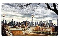美しい街、ニューヨーク市、アメリカ、高層ビル、紅葉、木、夕暮れ パターンカスタムの マウスパッド 旅行 風景 景色 デスクマット 大 (60cmx35cm)