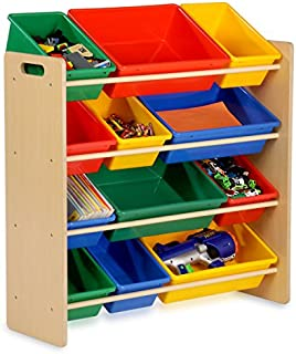 Honey-Can-Do Kids Toy Organizer and Storage Bins, Natural/Primary