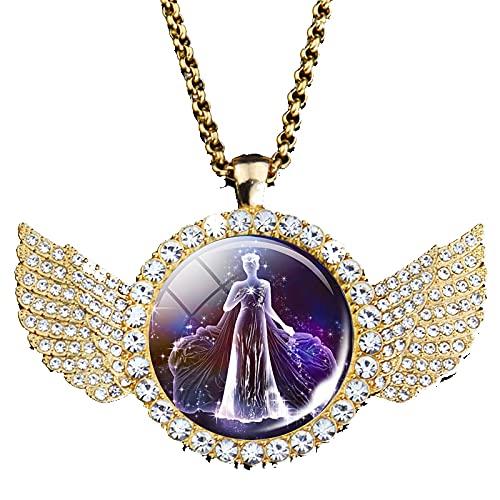 TUDUDU 12 Collar De Signo del Zodiaco Colgante De Ángel De Diamantes De Imitación Joyería De Constelación Collar De Regalo Longitud 48 Cm