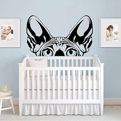 Pegatina de Pared Dibujos animados Sphynx Cat Head Peaking Car Laptop Wall Decal Dormitorio Sofá Mascota Animal Gato Cabeza de perro Etiqueta de la pared Vivero Vinilo Decoración 90 * 56cm