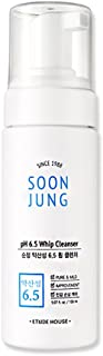 ETUDE HOUSE SoonJung pH 6.5 Whip Cleanser 5.1 fl. oz. (150ml) - Hypoallergenic Soft Bubble Type Hydrating Facial Cleanser for Sensitive Skin, Panthenol and Madecassoside Heals Damaged & Irritated Skin