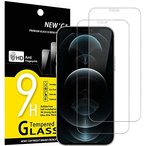 NEW'C 2 Stück, Schutzfolie Panzerglas für iPhone 12 Pro Max (6.7), Frei von Kratzern, 9H Festigkeit, HD Bildschirmschutzfolie, 0.33mm Ultra-klar, Ultrawiderstandsfähig